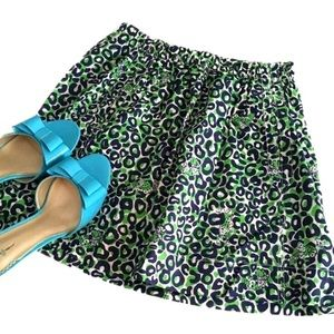 Lilly Pulitzer Blue Green Spotted Leopard Skirt